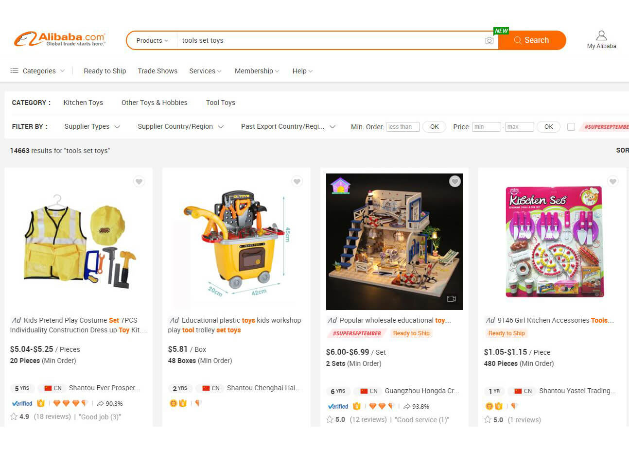 import toys from Alibaba